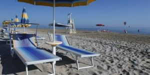 The beach with bar and restaurant in Fano
